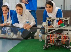 In pictures: Afghan girls robotics team arrives in Washington, DC