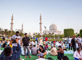 Abu Dhabi's Sheikh Zayed Grand Mosque iftar catering to up to 30,000 worshippers per night
