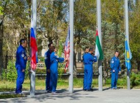 Emirati astronauts raise UAE flag ahead of space mission launch