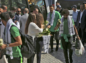 Saudi football fans delight in historic West Bank game