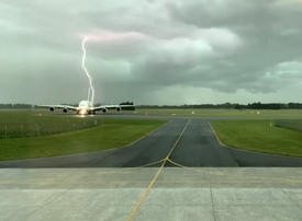 Watch: Incredible footage as lightning bolt just misses Emirates A380 aircraft