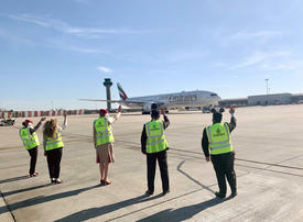 In pictures: Emirates ground staff bid farewell to last operating flights back to Dubai