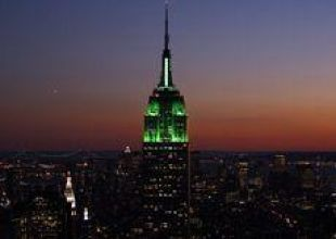 New York's Empire State lights up green for Eid