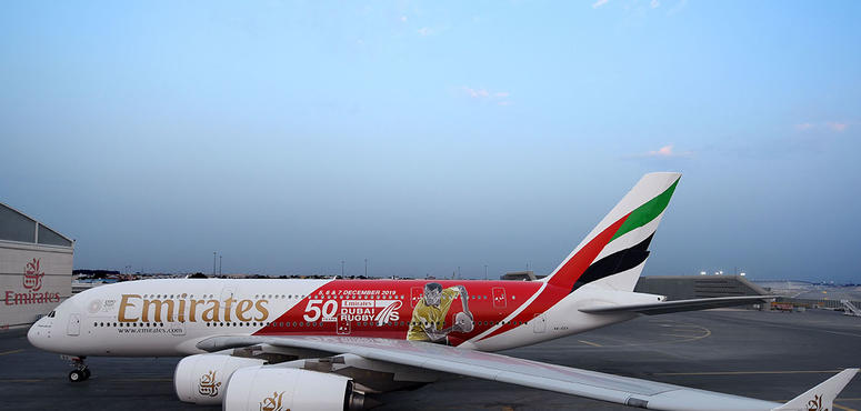 Gallery: Emirates reveals Dubai Rugby Sevens themed A380 livery