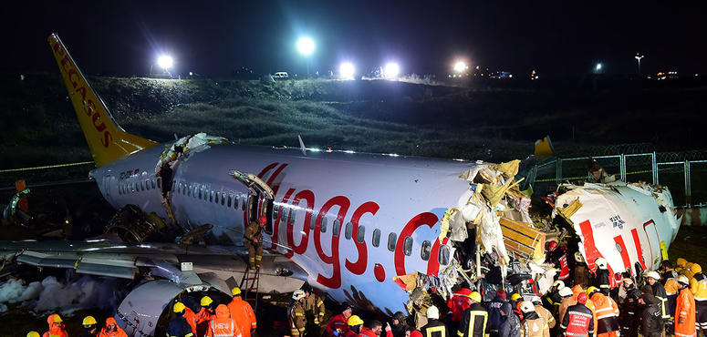 In pictures: Three dead after Pegasus Airlines skids on runway and catches fire