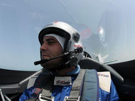 Riding in a Red Bull plane