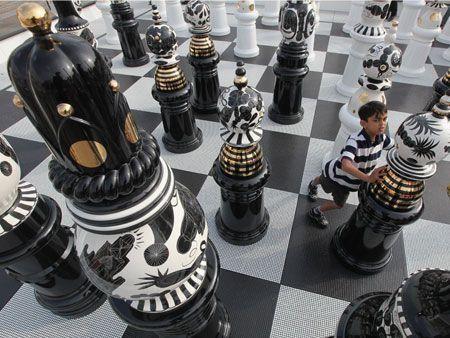 Giant chess set at Trafalgar Square