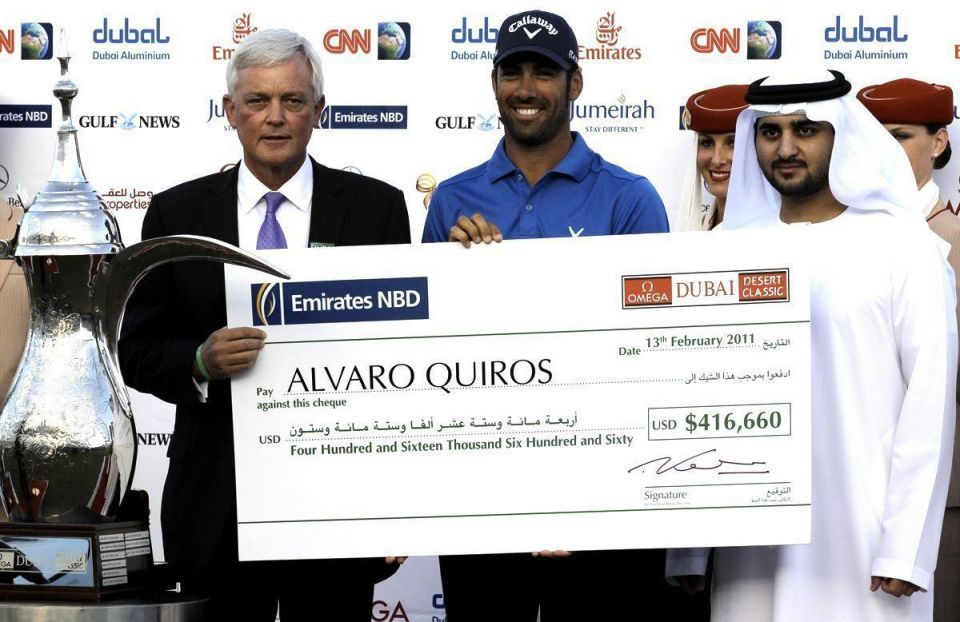 Quiros wins Dubai Desert Classic, as Woods slips in final round