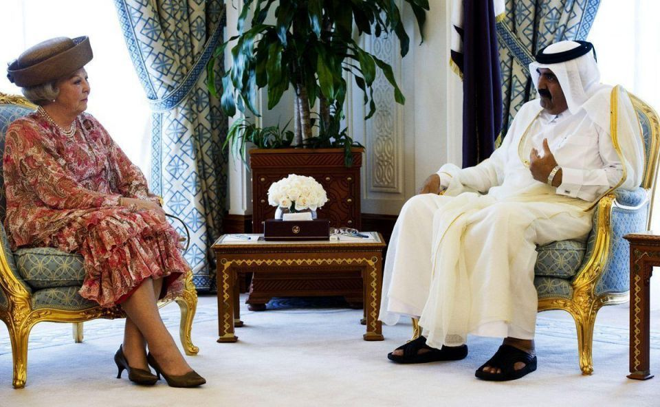 Dutch Queen Beatrix meets the Emir of Qatar
