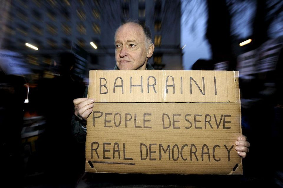 UK protestors picket Bahrain trade event