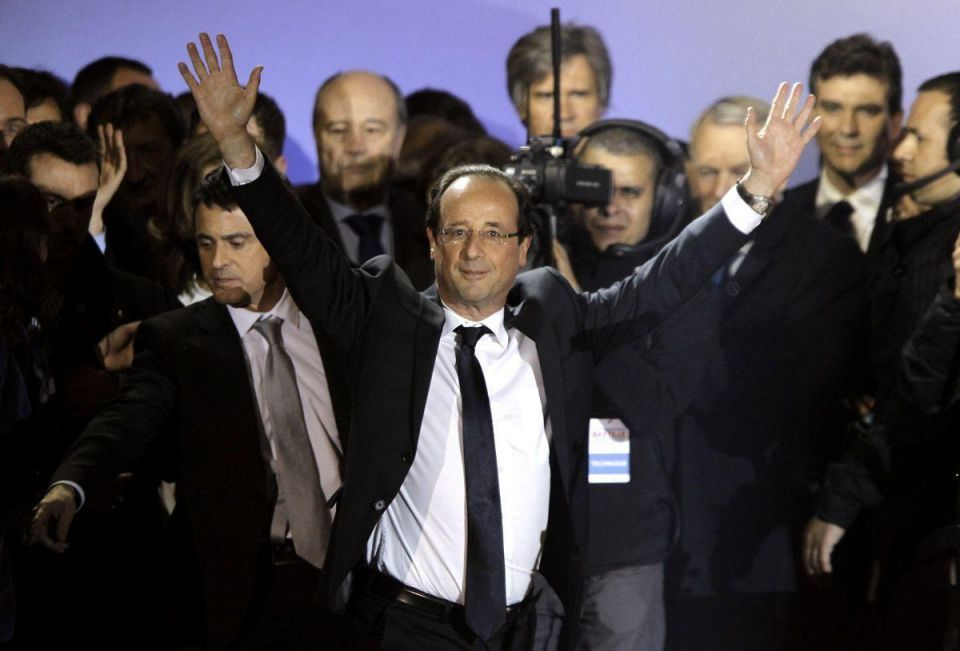Francois Hollande celebrates victory at French Presidential elections