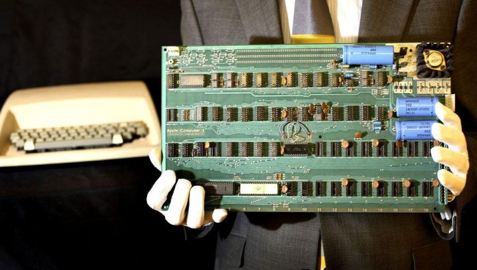 A rare Apple 1 computer on display before auction at Christie's