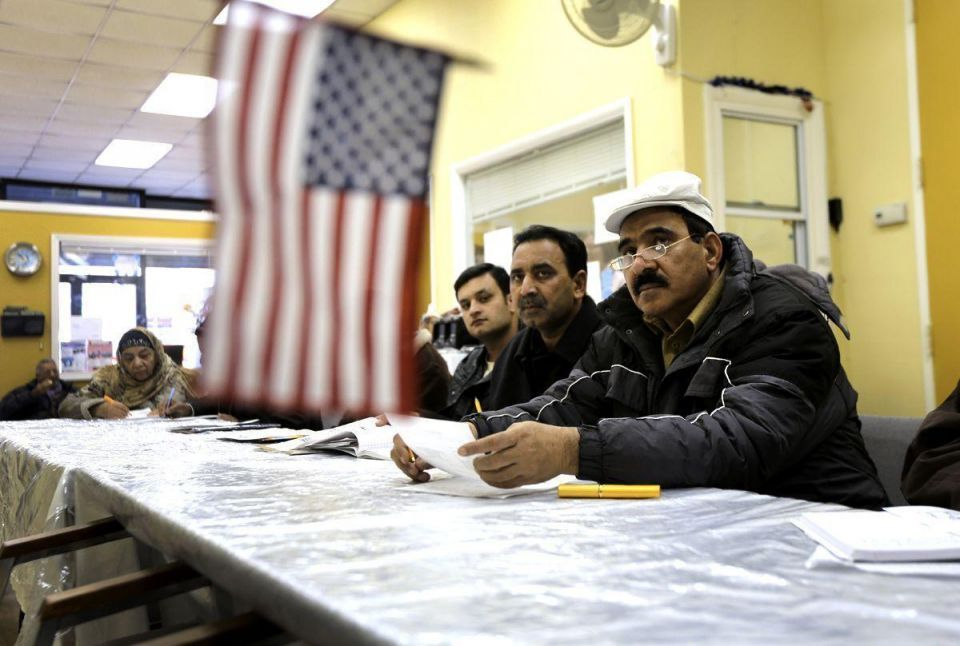 Pakistani immigrants attend citizenship class