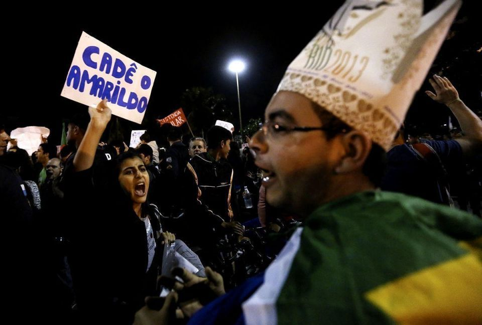 Brazilian protests during Pope visit