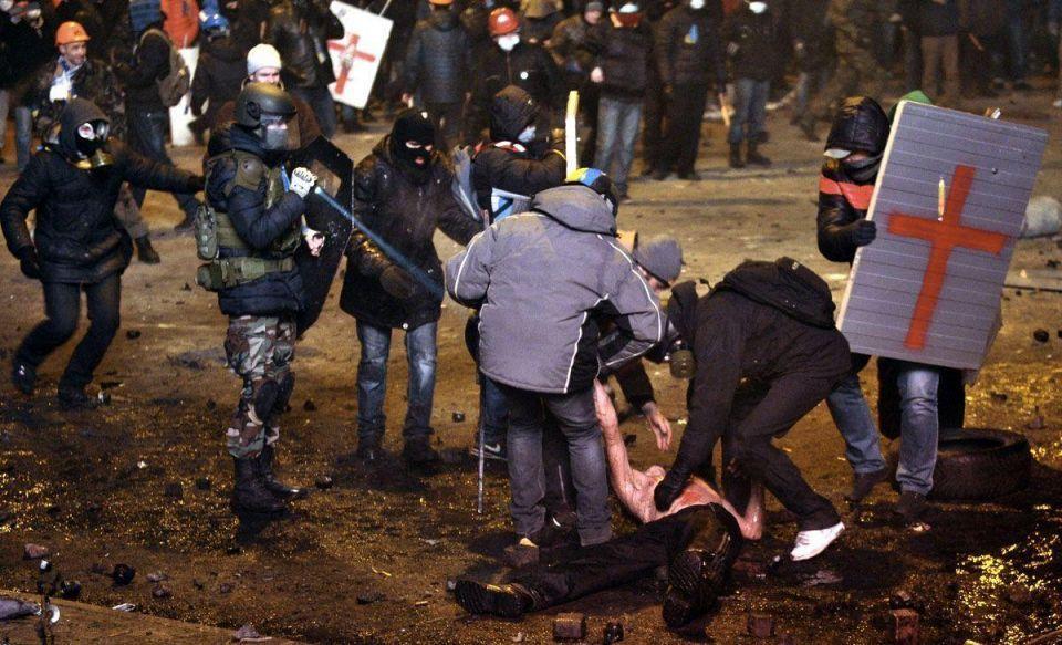 Violent clashes at Ukrainian protest