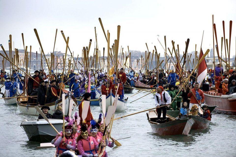 Venice Carnival launches with traditional regatta