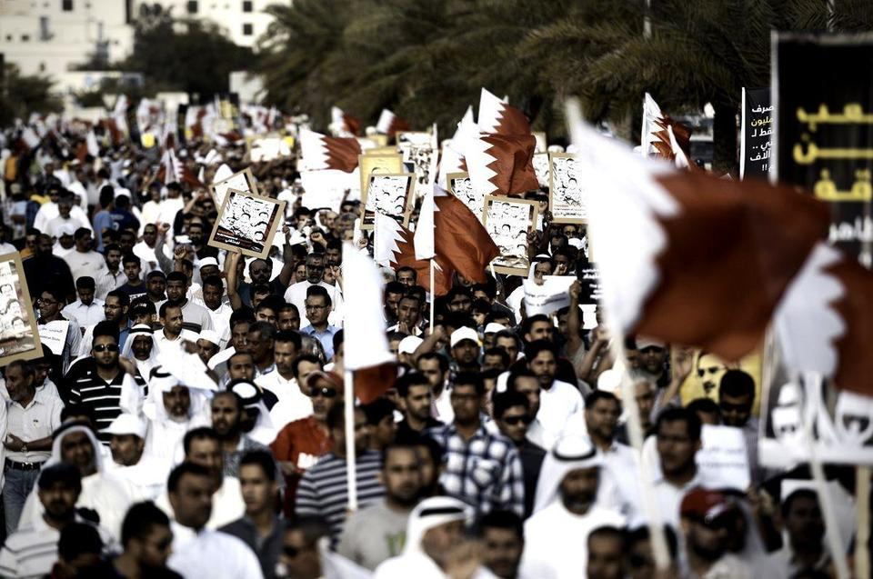 Thousands gather for Bahrain rally