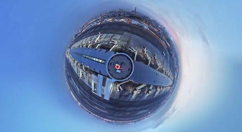 'Little Planet' timelapse of Dubai International Airport