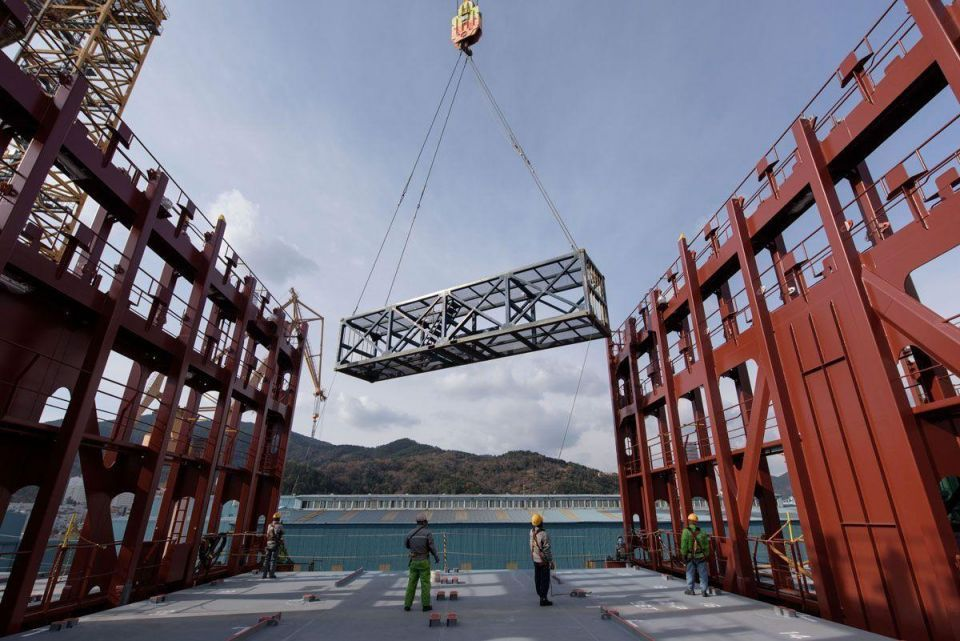 The world's largest container ship on the way to Europe