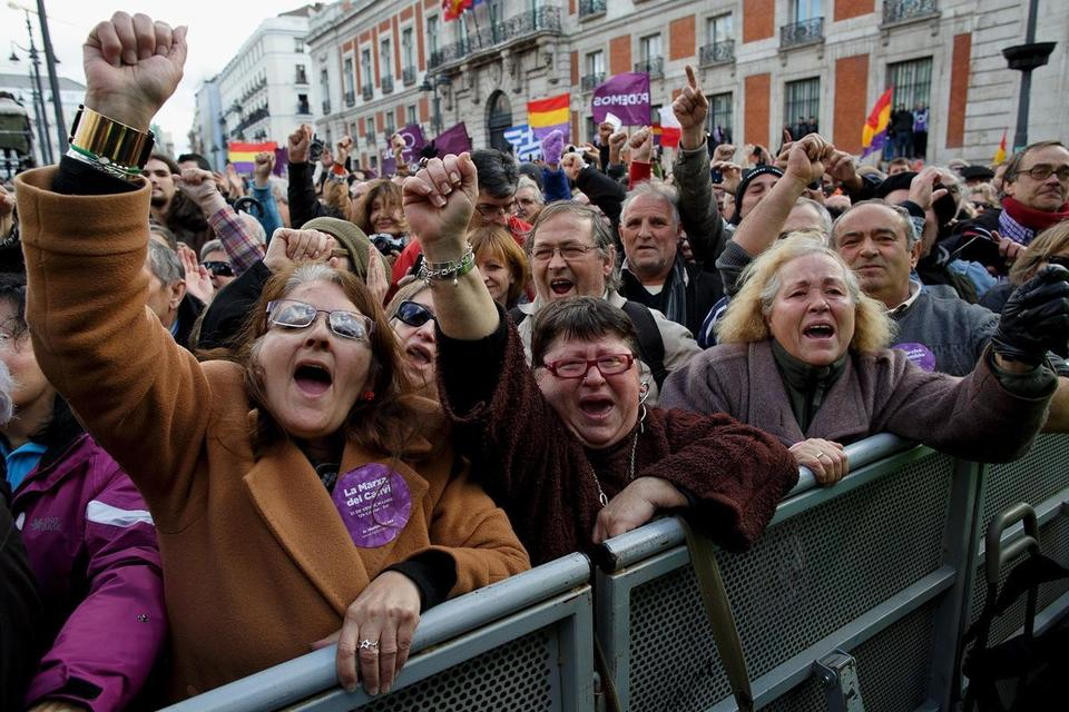 Spanish left-wing political party 'Podemos' march in Madrid