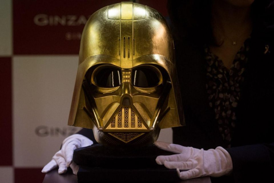 For sale: Gold Darth Vader mask and coins