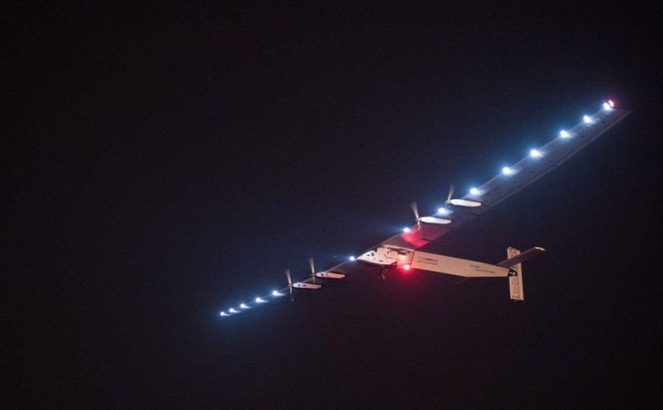 Round-the-world solar plane takes off from Nanjing for Hawaii