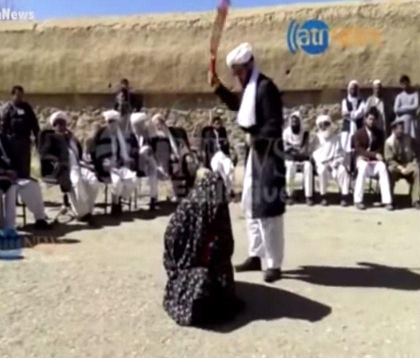 Afghanistan TV broadcast Woman receiving 100 lashes