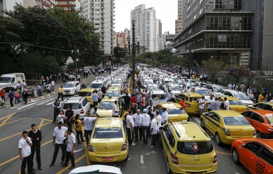Taxi drivers against car service start-ups