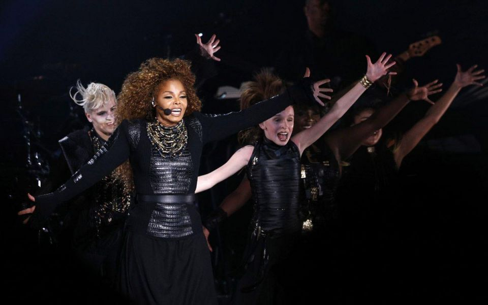 US singer Janet Jackson performs during the Dubai World Cup