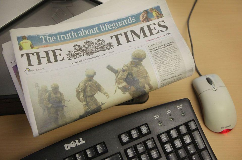 "Rupert Murdoch's The Times stops printing in the MidEast due to ""commercial reasons"""