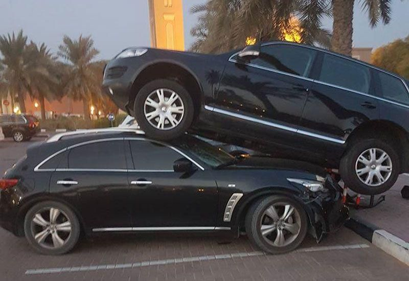 Dubai accident sees driver park on top of car