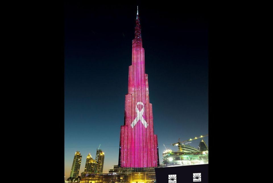 Burj Khalifa turns pink in October for breast cancer awareness month