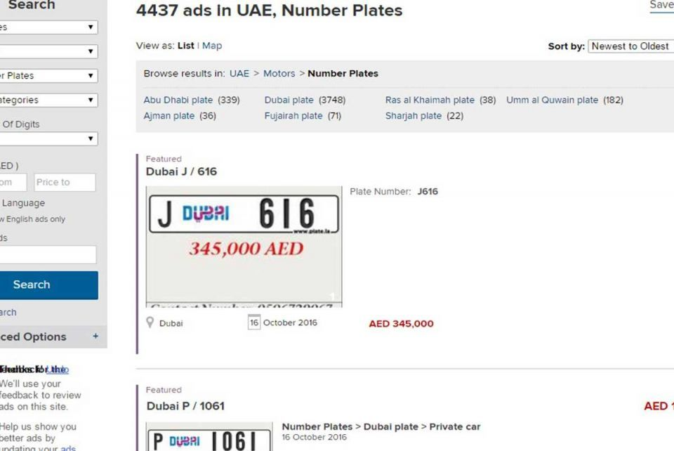 Dubizzle says $35m of number plate ads posted since July
