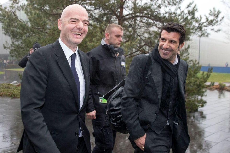 Newly-elected FIFA president Gianni Infantino plays friendly football match