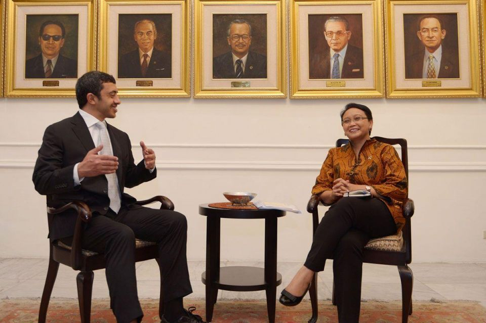 UAE foreign minister in Jakarta