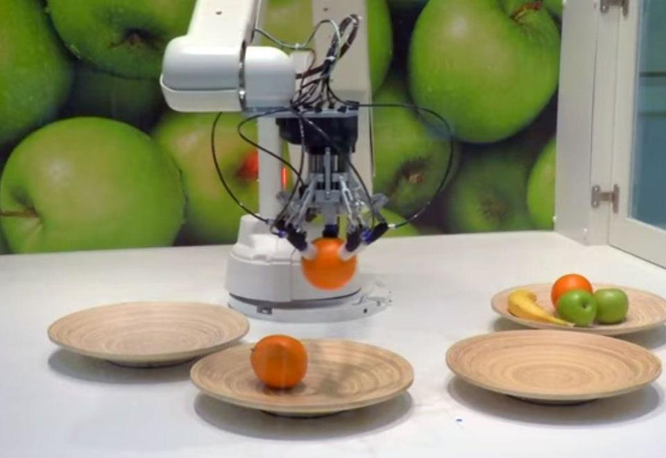 Robot arm sorts and stacks delicate fruits