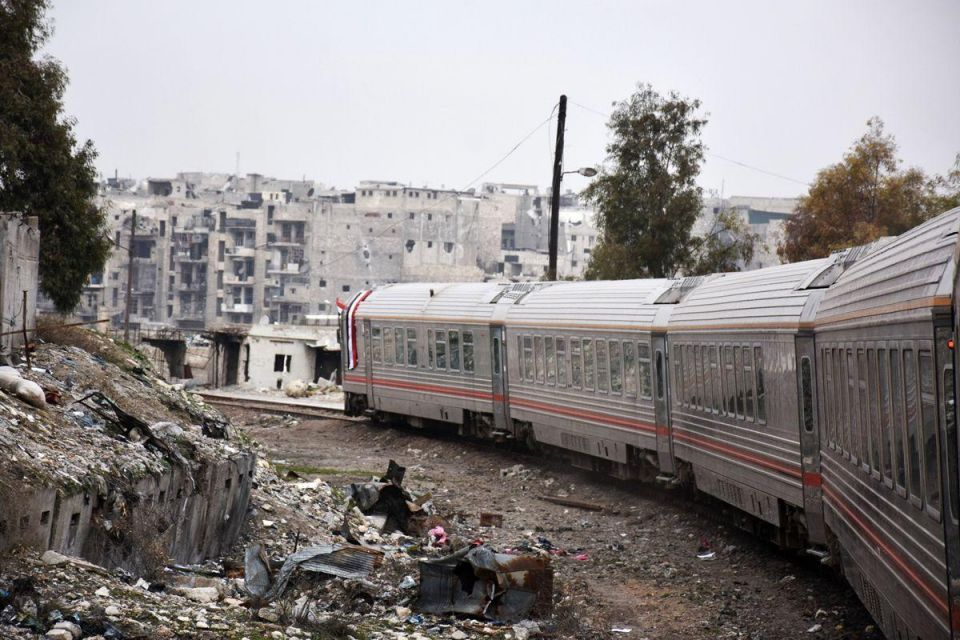In pictures: Syrians riding train across the east Aleppo for the first time in more than four years