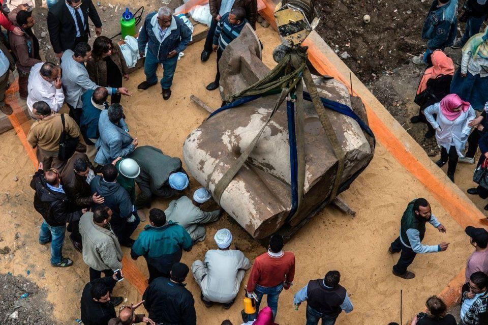 In pictures: Massive ancient statue discovered in Egypt slum