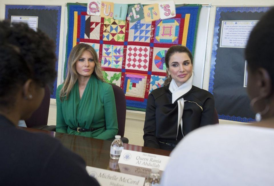 In pictures: Queen Rania tours Washington school with Melania Trump