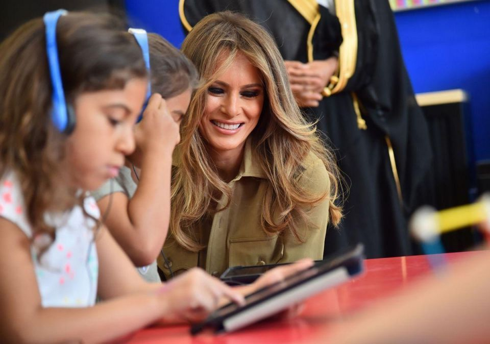 In pictures: Melania Trump visits school and women business centre