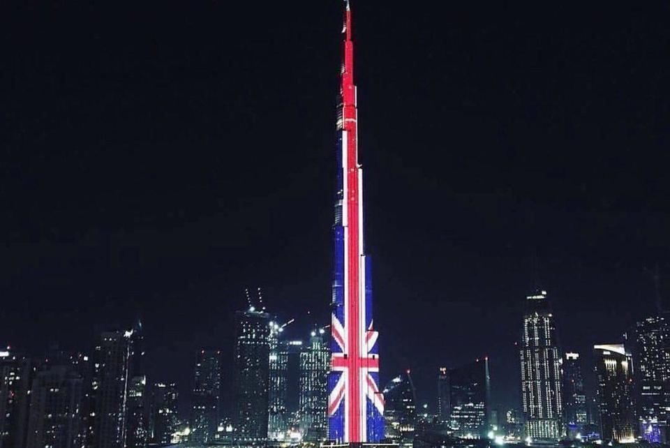 In pictures: UAE buildings illuminated with Britain's Union flag