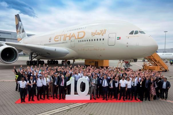 Etihad takes delivery of final A380 plane from Airbus