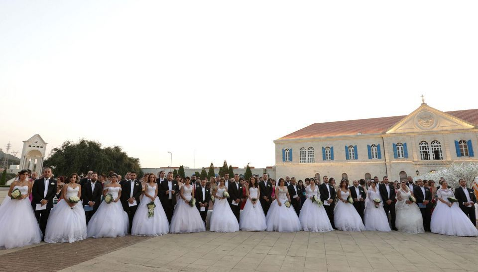 In pictures: Lebanese Maronite Christian couples take part in a mass wedding