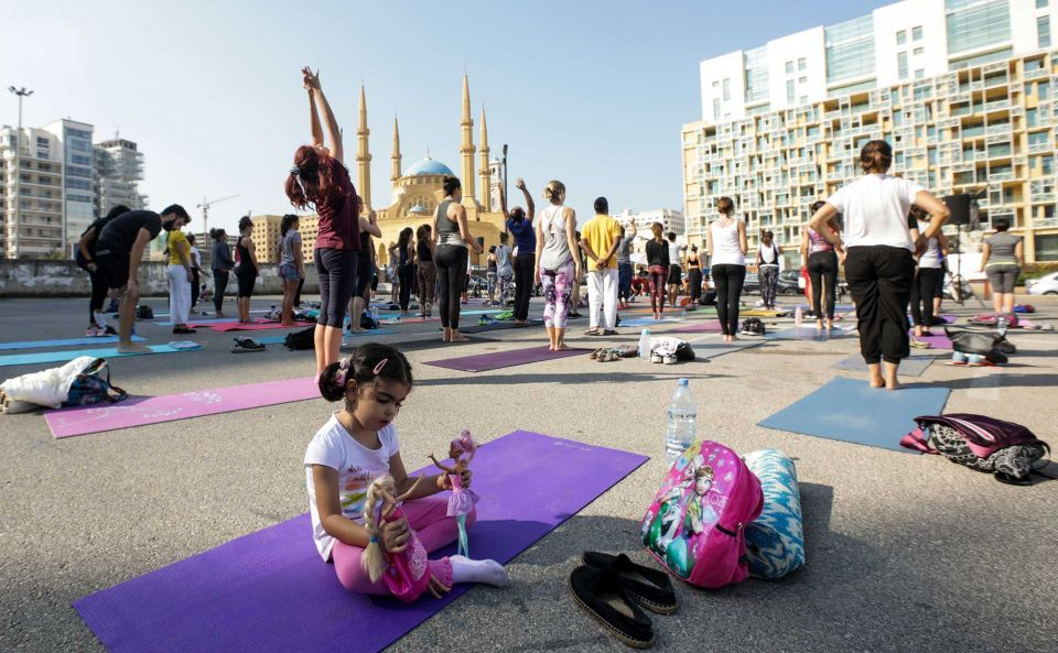 In pictures: People gathered in the Beirut's Martyrs Square to practice yoga
