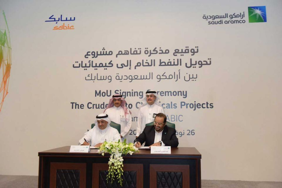 Aramco, Sabic sign agreement for $20bn oil-to-chemicals project