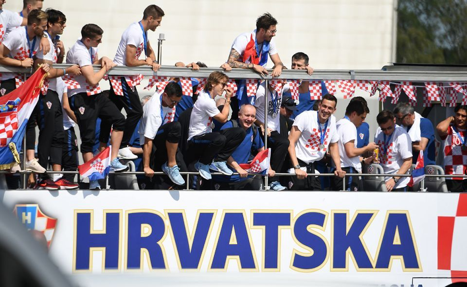 Fans celebrate their 'heroes' on the streets of the Croatian capital - in pictures