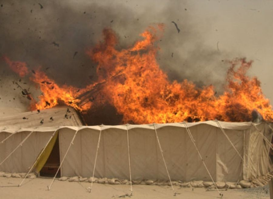 Kuwait firefighters tackle huge blaze at tent marketplace