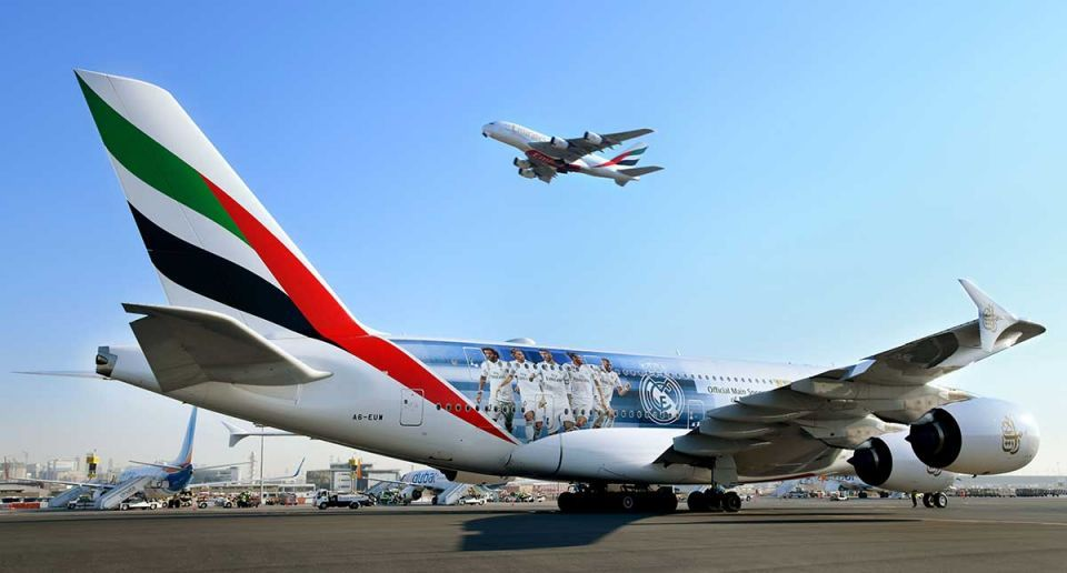 Emirates airline's new Real Madrid A380 flies squad to Abu Dhabi
