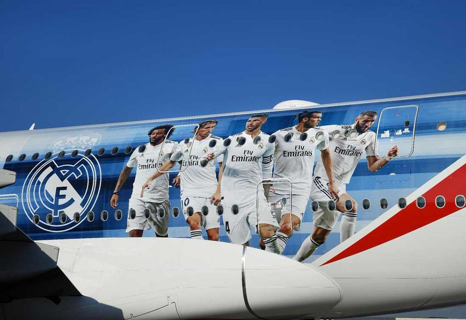 In pictures: Emirates A380 new livery featuring Real Madrid players