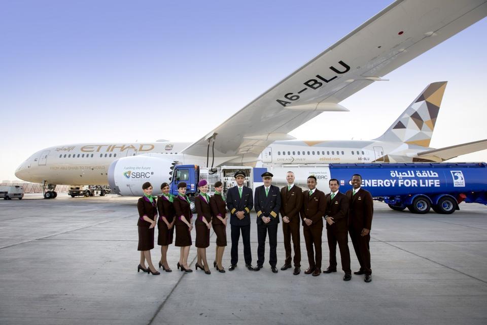Etihad Airways flies world's first flight fuelled by UAE plants